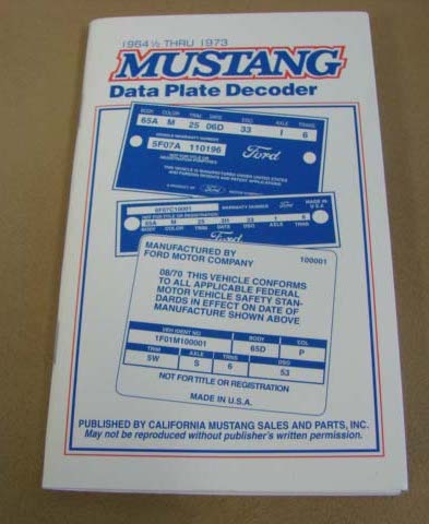 Book, 1965-73 Mustang Book (Pocket Size Data Plate Decoder)