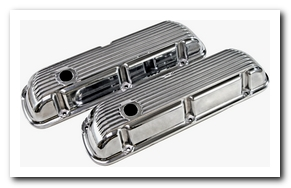 Valve Covers, 1964 - 73 Mustang (Cal Custom Aluminum - Finned, Small Block) Scott Drake