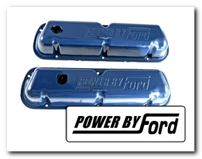 Valve Covers, 1968 - 70 Mustang (Power By Ford, Ford Blue, Fits 260 - 289 - 302 - 351) Scott Drake