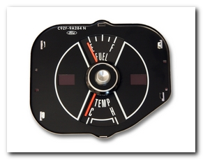 Gauge, 1969 Mustang Fuel - Temp (Black) Scott Drake
