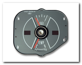 Gauge, 1970 Mustang Fuel - Temp (Gray) Scott Drake
