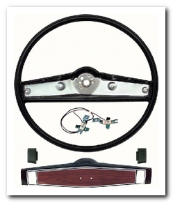 Steering Wheel Kit, 1969 - 70 Nova Black With Cherry Shroud OER
