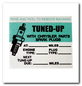 Tune Up Sticker, 1964 - 72 Barracuda  Quirey Quality